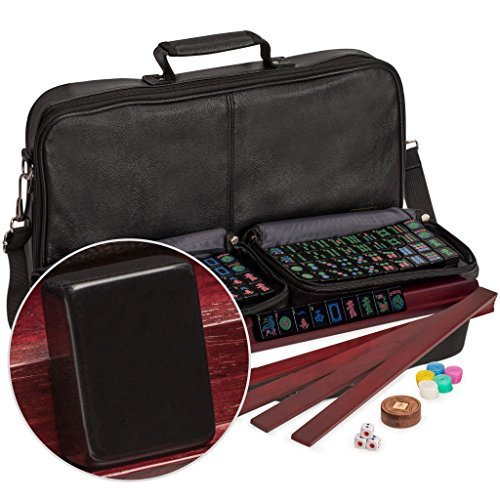 """American Mahjong (Mahjongg, Mah-Jongg) Set with 166 Jet Black Tiles, 4 All-in-One Racks with Detachable Pushers, Accessories, and Soft Leatherette Case, The """"Soft Jet"""" by Yellow Mountain Imports"""
