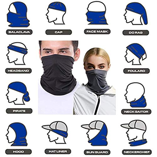 [4 Pack] Neck Gaiter Balaclava Bandana Headwear, Breathable Cooling Washable Reusable Sunblock, Summer Protection from Dust/Wind/UV Sun Sports Face Scarf Cover for Fishing Hiking Outdoors Men Women