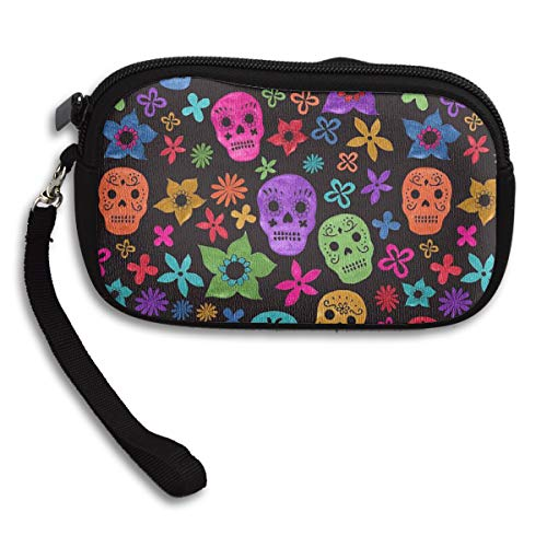 Halloween Wallpaper Skull Coin Purse,wallet Change Purse With Zipper,Mini Pouch Phone Pouch Cosmetic Bag Cute Portable Bag Coin Bag ()