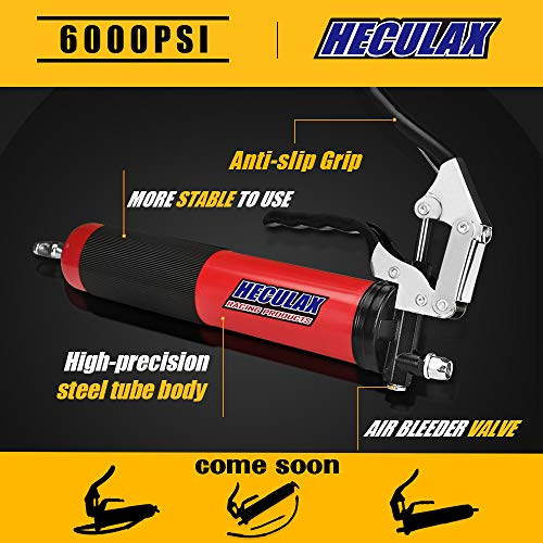 """AcPulse 6000 PSI Heavy Duty Professional Quality Pistol Grip Style Grease Gun with 18"""" Flex Hose"""