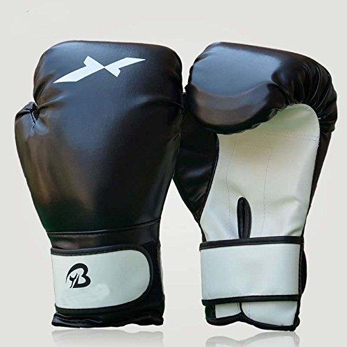 XH ® 1ペアスポーツFighting GolvesボクシンググローブPUレザーEva裏地付きトレーニングCompetition B016W892CU ブラック