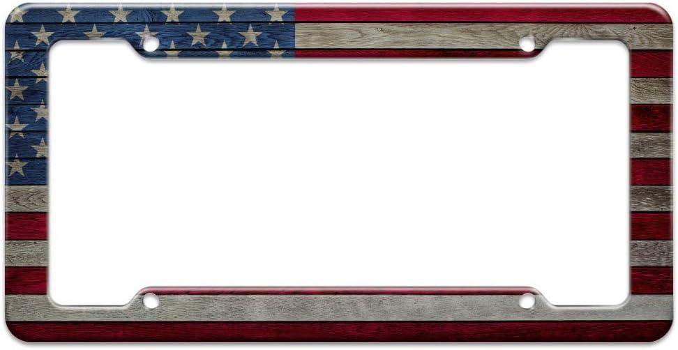 Rustic American Flag Wood Grain Design License Plate Tag Frame