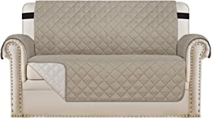 """Loveseat Covers Loveseat Slipcover Reversible Quilted Furniture Protector with Elastic Straps Slip Resistant Furniture Cover for Dogs Seat Width Up to 46"""" (Loveseat, Khaki/Beige)"""