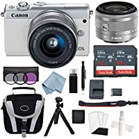 Canon EOS M100 Mirrorless Digital Camera (White) With 15–45mm f/3.5–6.3 IS STM Lens + Deluxe Accessory Bundle - Includes EVERYTHING You Need To Get Started