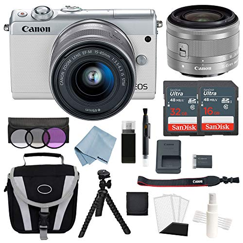 Canon EOS M100 Mirrorless Digital Camera (White) With 15–45mm f/3.5–6.3 IS STM Lens + Deluxe Accessory Bundle – Includes EVERYTHING You Need To Get Started