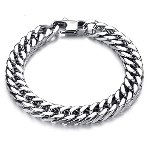 - Delia Joyce Chunky Bracelets 8 Inch Men's Titanium Stainless Steel Large Curb Chain Wide Chunky Massive Miami Cuban Link Chain Bracelet Hip Hop Rocker Biker Rapper Large Bracelet Girlfriend Boyfriend