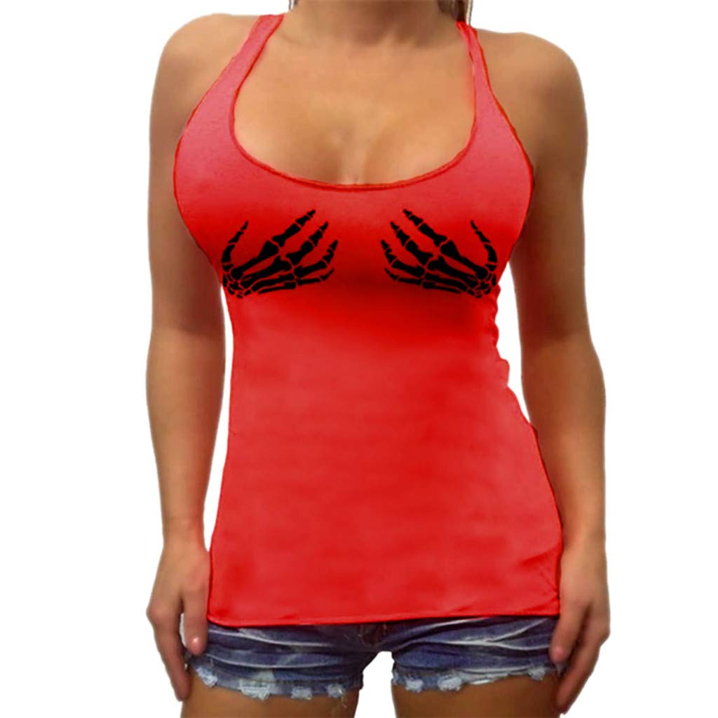 JFLYOU Women's Ladies Sexy Sleeveless Print O-Neck Shirt Pullover Vest Tank Tops(Red,XL)