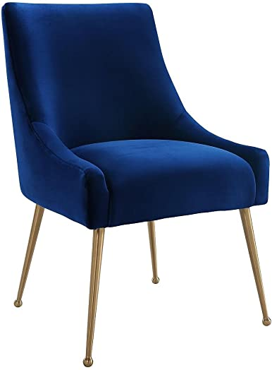 Tov Furniture The Beatrix Collection Modern Style Living Room Velvet Upholstered Side Chair, Navy