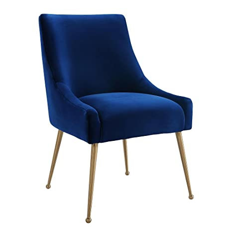 Tov Furniture The Beatrix Collection Modern Style Living Room Velvet Upholstered Side Chair Navy