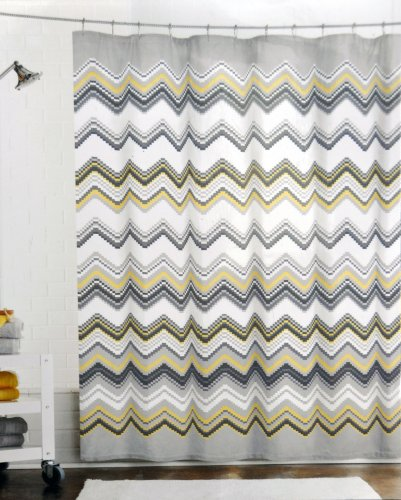 Max Studio Fabric Shower Curtain Chevron Pattern Black Gray Yellow On White Amazoncouk Kitchen Home