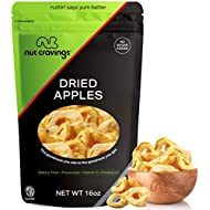 Sun Dried Apple Rings Slices, No Sugar Added (16oz - 1 Pound) Packed Fresh in Resealable Bag - Sweet Dehydrated Fruit Treat, Trail Mix Snack - Healthy Food, All Natural, Vegan, Gluten Free, Kosher