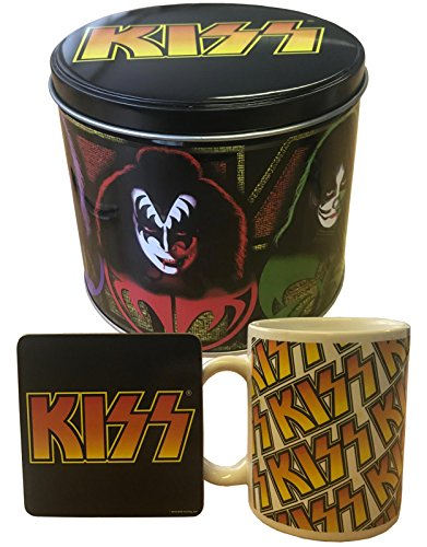 Kiss Mug And Coaster Gift Set Band Logo And Icons Presentation Tin Official ()