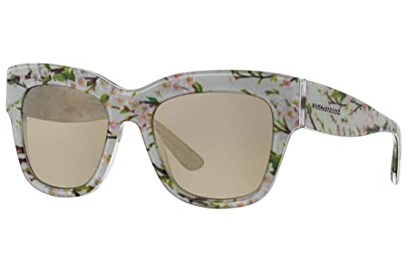 172d86d9925 Amazon.com  Dolce   Gabbana Women s 0DG4231 Aqua Peach Flowers Light Brown  Mirror Gold  Clothing