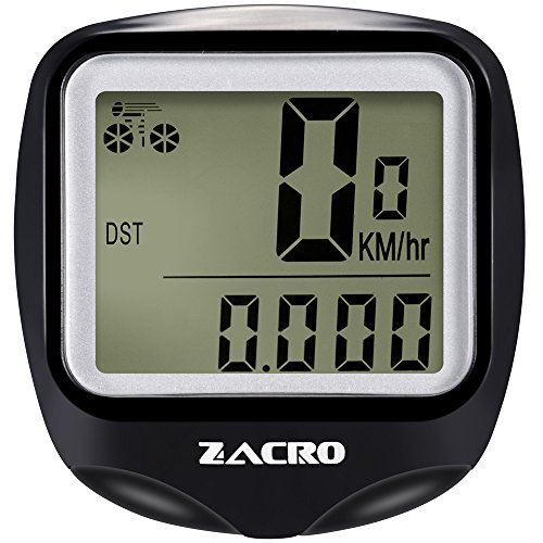 Zacro Bike Computer,BC428 Wireless Bicycle Speedometer with Backlight, Multi FunctionBike Odometer Cycling with Compass Key Ring