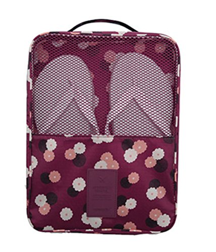 iSuperb Shoe Bag Waterproof Travel Bag Shoe Toe Organizer Case Holder 3 Pairs of Shoes (Wine with Floral Pattern)