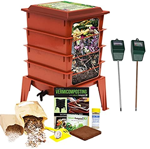 Worm Factory 360 Composting Bin + Moisture and pH Testing Meter Worm Farm Kit (Terracotta) - Red Worms For Compost