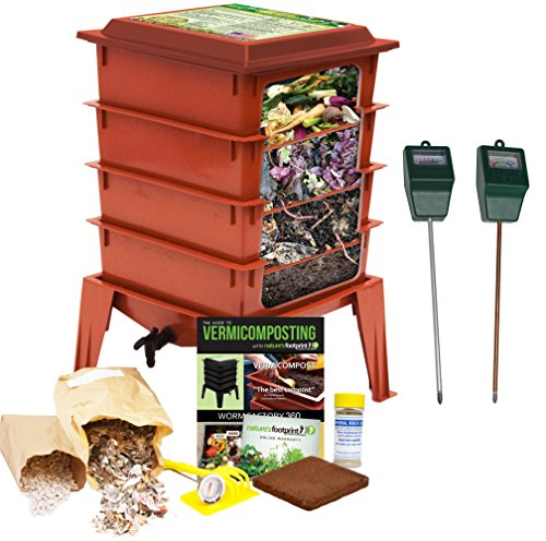 posting Bin + Moisture and pH Testing Meter Worm Farm Kit (Terracotta) ()