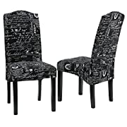 Cortesi Home CH-DC800909 Fletcher Dining Chair in Black Script Fabric (Set of 2)