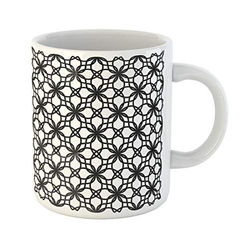 Semtomn Funny Coffee Mug Lace Black and White Pattern Monochrome Geometric Abstract Contemporary 11 Oz Ceramic Coffee Mugs Tea Cup Best Gift Or Souvenir