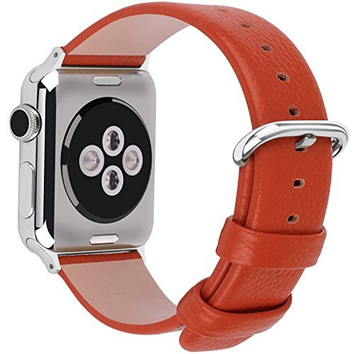 15 Colors for Apple Watch Bands 42mm and 38mm, Fullmosa Yan Calf Leather Replacement Band/Strap with Stainless Steel Clasp for iWatch Series 0 1 2 Sport and Edition Versions 2015 2016 2017,38mm Orange
