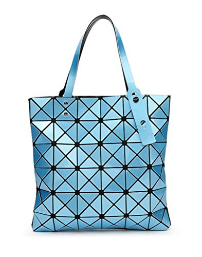 Katoony Womens PU Leather Geometric Diamond Lattice Shoulder Handbag Tote Bag Top Handle Bag - Pattern Square Checked Pocket