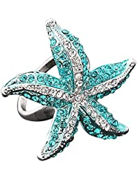 9K Gold Plated Crystal Rhinestone 3D Starfish Statement Finger Ring Blue White Ameesi