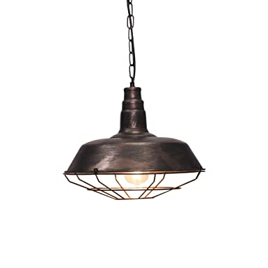 KIRIN Metal Industy Edison 1-Light Chain Pendant Light Fixture Iron Cage Ceiling Fixture for Porch Bar Farmhouse Kitchen Barn Light Rustic Bronze