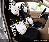 1 set classical cartoon black leopard fashion car front and back seat covers car waist pillows neck pillows hand brake cover