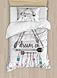 Ambesonne Indie Duvet Cover Set Twin Size, Boho Style Tribal Ethnic Arrows Triangle Shape Dream On Hand Writing Feathers, Decorative 2 Piece Bedding Set with 1 Pillow Sham, Black White Pink