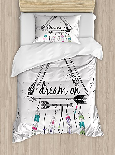 Ambesonne Indie Duvet Cover Set Twin Size, Boho type Tribal Ethnic Arrows Triangle Shape Dream On Hand Writing Feathers, Decorative 2 Piece Bedding Set by using 1 Pillow Sham, Black White Pink