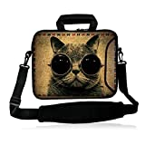 "FSHB10-014 NEW Bespectacled cat 9.7"" 10"" 10.1"" 10.2 inch Neoprene Laptop Netbook tablet Shoulder Case Carrying sleeve Bag cover with strap Pocket For Apple iPad Air iPad 1 2 3 4 5 5th /Samsung Galaxy Note GT-P5110/Tab 3/4 /Tab Pro 10.1"" /Tab S 10.5""/ASUS Transformer Book T100/T100TA/Toshiba Excite 10/Google Android Nexus 10 Tablet/HP Mini Dell XPS 10 Acer Aspire One ASUS VivoTab RT 10"" 10.1"" TouchScreen Android 4.0 Tablet"