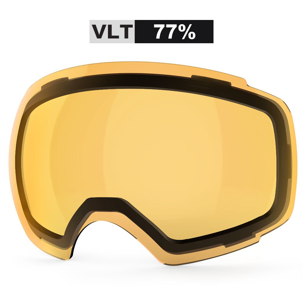 ZIONOR Lagopus X4 Ski Snowboard Snow Goggles Replacement Lenses (VLT 77% Clear Orange Lens) by Zionor
