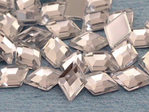10x7mm Crystal .AC Flat Back Diamond Acrylic Jewels Pro Grade - 100 (Shaped Glue)