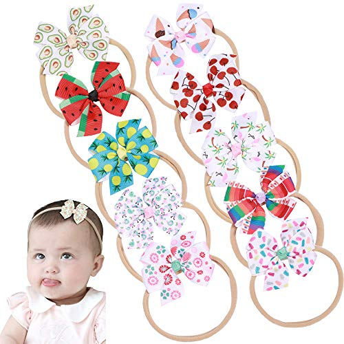 Baby Nylon Knotted Headbands Girls Head Wraps Newborn Infant Toddler Hairbands and Bows (Multicoloured Fruits ASMQ1027)]()