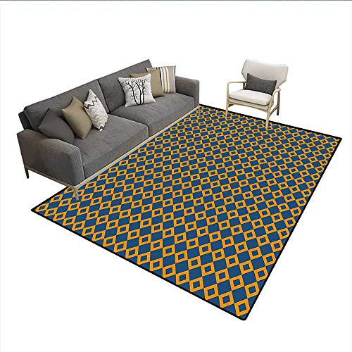 (Floor Mat,Old Fashioned Classical Pattern with Small Squares Chain Mesh Net Simple Tile,Area Carpet,Orange Dark Blue 5'x7')