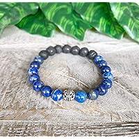 Lapis Lazuli Gemstone Bracelet, Men's Women's Essential Oil Diffuser Bracelet, Lava Stone Bracelet