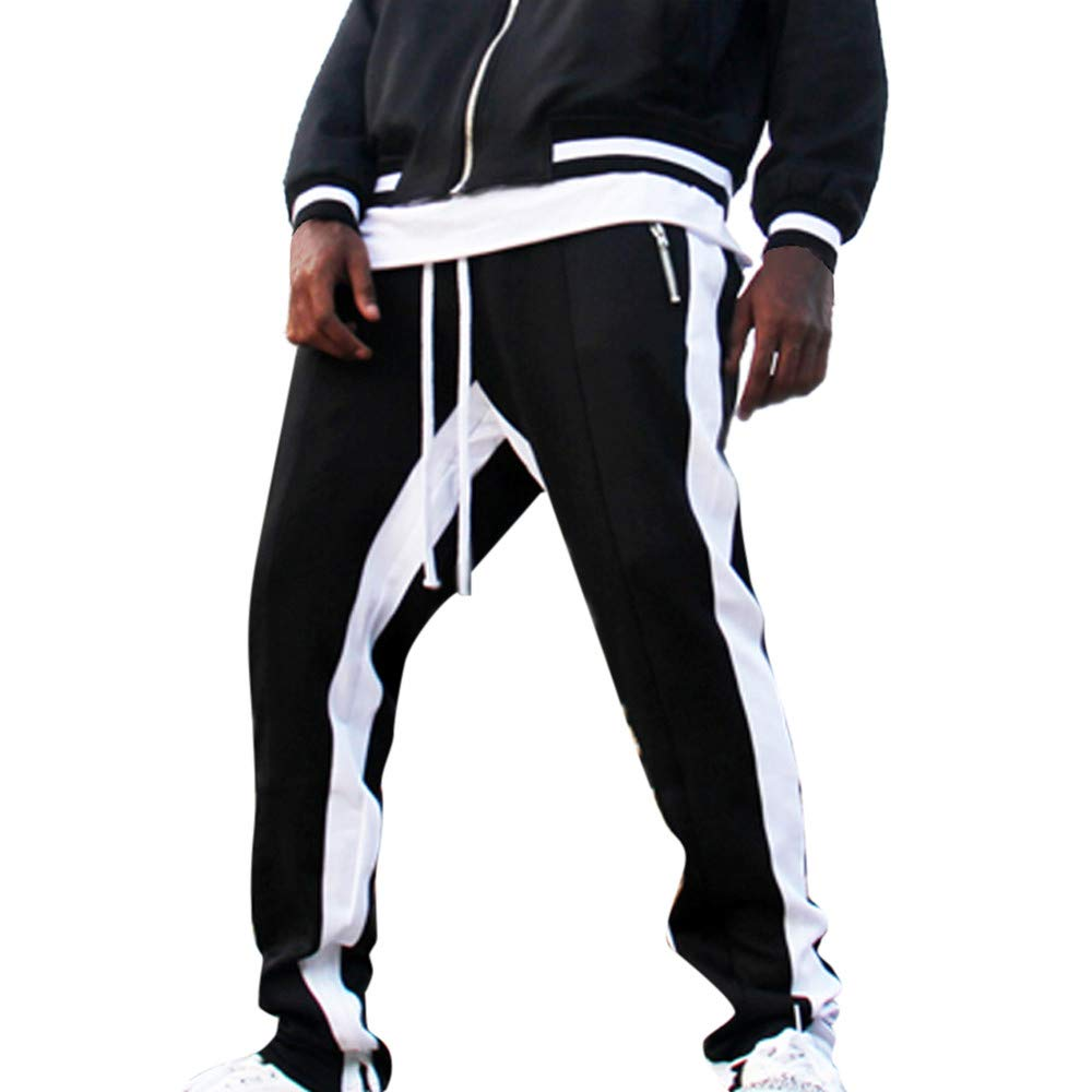 FTXJ Mens Pants, Men Stripe Pocket Overalls Casual Pocket Sport Work Casual Trouser Pants