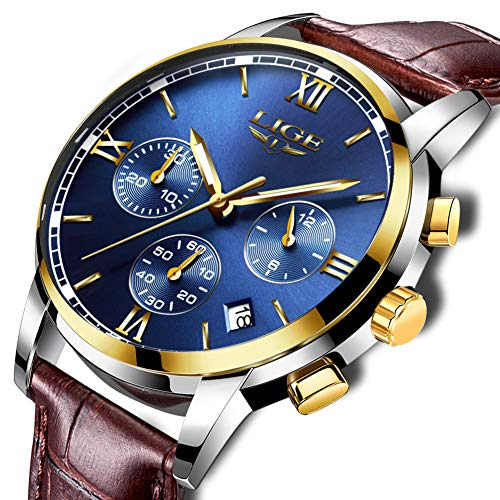 Mens Watches,LIGE Waterproof Chronograph Brown Leather Sports Analog Quartz Wristwatch Blue Dial Calendar Gents Fashion Casual Luxury Watch Gold Blue