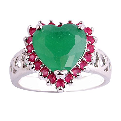 (Empsoul 925 Sterling Silver Natural Novelty Created 3.5ct Green Topaz & Ruby Spinel Heart Halo Engagement Wedding Ring)