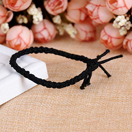 10X Elastic Braided Hair Ties Band Rope Ponytail Holders Women Hairs AccessoryBH (Colour - black)