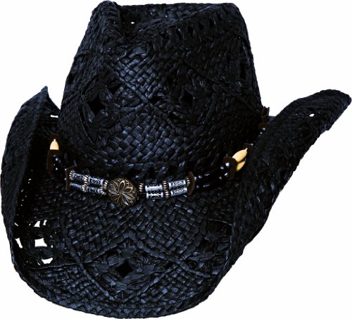 - Bullhide Montecarlo All Summer Long Woven Toyo Straw Western Hat Lg/xLg Black