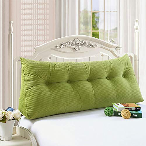 WOWMAX Large Bolster Triangular Wedge and Body Positioners Support Reading Backrest Pillow for Mother's Day Headboard for Day Bed Bunk Bed with Removable Cover Green 70x7.9x19inch (Much How Daybeds Are)