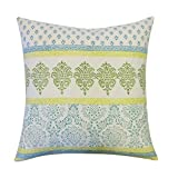 Vivai Home Turquoise Horizontal Stamp Pattern Square 24x 24 Feather Pillow