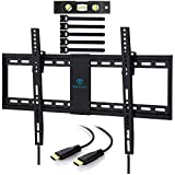 TV Wall Mount Bracket Tilt Low Profile for Most 32-70 inch LED, LCD, OLED, Plasma Flat Screen TVs with VESA up to 132lbs (60kg) 600x400mm - Bonus HDMI Cable and Cable Ties by PERLESMITH