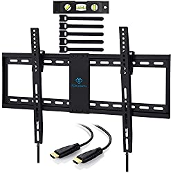 PERLESMITH Tilt Low Profile TV Wall Mount Bracket for Most 32-70 inch LED, LCD, OLED and Plasma Flat Screen TVs with VESA Patterns up to110lbs 600 x 400 - Includes HDMI Cable,Bubble Level & Cable Tie