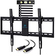 PERLESMITH Tilt Low Profile TV Wall Mount Bracket for Most 32-70 inch LED, LCD, OLED and Plasma Flat Screen TVs with VESA Patterns up to132lbs 600 x 400 - Includes HDMI Cable,Bubble Level & Cable Tie