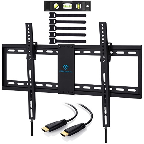 Lcd Wall Universal Plasma (PERLESMITH Tilt Low Profile TV Wall Mount Bracket for Most 32-70 inch LED, LCD, OLED and Plasma Flat Screen TVs with VESA Patterns up to132lbs 600 x 400 - Includes HDMI Cable,Bubble Level & Cable Tie)