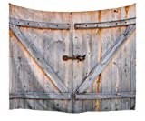 A.Monamour Retro Rustic Wood Planks Country Barn Door Art Print Fabric Tapestry Wall Hanging Decors for Bedroom Accessories 229x153cm/90 x60 For Sale