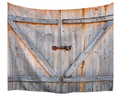 A.Monamour Retro Rustic Wood Planks Country Barn Door Art Print Fabric Tapestry Wall Hanging Decors for Bedroom Accessories 229x153cm/90 x60
