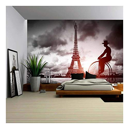 (wall26 - Man on Retro Bicycle Next to Eiffel Tower, Paris, France - Removable Wall Mural | Self-Adhesive Large Wallpaper - 66x96 inches)